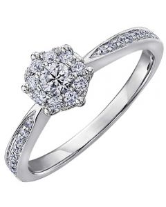 9ct White Gold 0.35ct Diamond Hex Cluster Ring 3880WG/35-9