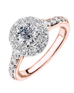 9ct Rose Gold 0.50ct Diamond Halo Ring 3816WR/50-9