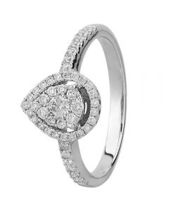 9ct White Gold 0.50ct Diamond Pear Halo Cluster Ring SKR5836