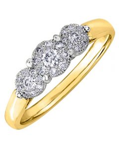 9ct Yellow Gold 0.53ct Diamond Triple Cluster Ring 3971YG/53-9