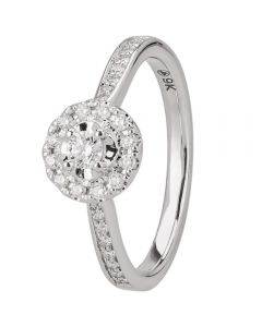 9ct White Gold 0.30ct Round Halo Diamond Shouldered Ring 30523WG/30-10