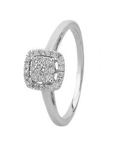 9ct White Gold 0.25ct Diamond Cushion Cluster Ring THR10926-25