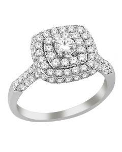 9ct White Gold 1.50ct Diamond Shouldered Square Pavé Cluster Ring SKR20569-150