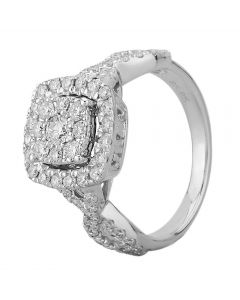 9ct White Gold 1.00ct Diamond Cross Shoulder Square Cluster Ring SKR19823-125E 9WG