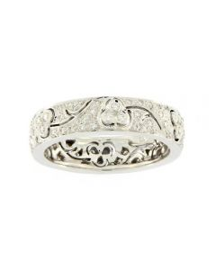 Ungar & Ungar 18ct White Gold & Diamond 0.40ct Pave Open Flower Band Ring 8WR1344DD