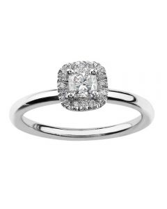 18ct White Gold 0.80ct Certificated Cushion-cut Diamond Cluster Ring 3768WG/80-18