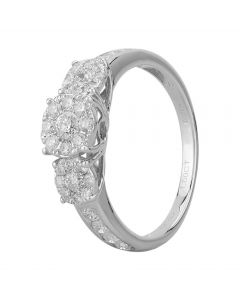 18ct White Gold 1.00ct Diamond Cluster Trilogy Ring SKR15119-100TB