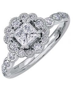18ct White Gold 0.93ct Diamond Princess-cut Flower Cluster Ring 30022WG/93-18