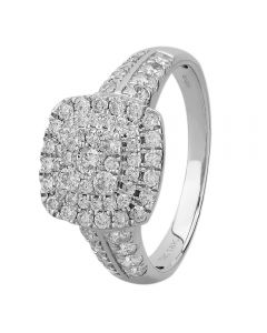 18ct White Gold 1.00ct Diamond Shouldered Cushion Cluster Ring SKR15868-100