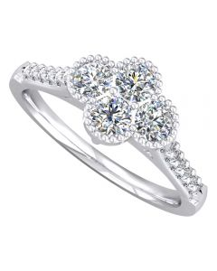 18ct White Gold Beaded Diamond Cluster Ring 9715/18W/DQ10