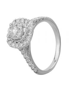 18ct White Gold 1.60ct Diamond Square Halo Ring SKR18537-200E