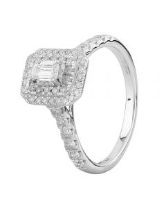 18ct White Gold 1.00ct Diamond Halo Cluster Ring THR25074-100