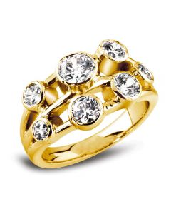 18ct Gold 3 Row Diamond 7 Stone Ring RL45S