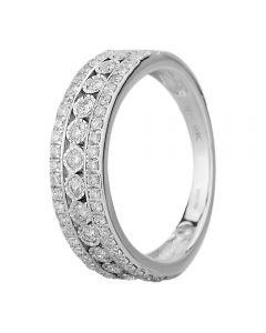 9ct White Gold 0.50ct Diamond Three Row Ring THR18111-50