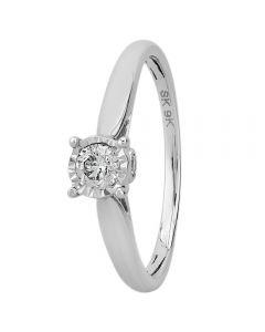 9ct White Gold 0.25ct Diamond Bridge Accent Solitaire Ring THR15625-25