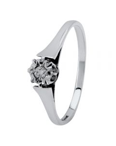 9ct White Gold W-Prong Diamond Solitaire Ring 095-W9MO4D05PS