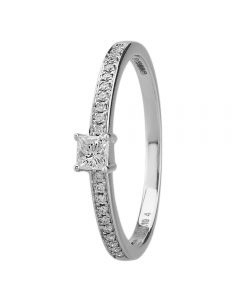 18ct White Gold Princess Cut 0.19ct Diamond Shouldered Ring 18DR429/W