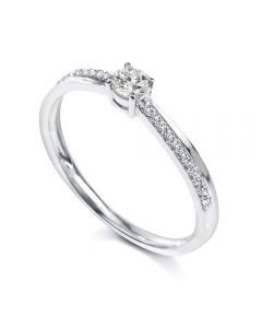 18ct White Gold Single Stone 0.20ct Diamond Shoulders Ring DDR107-3.7 M