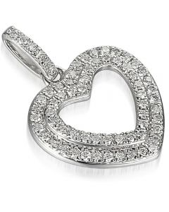 9ct White Gold Diamond Open Heart Pendant PEN45679/17