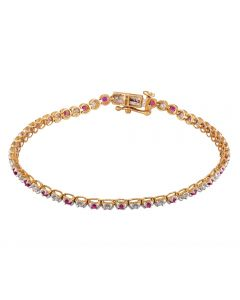 9ct Yellow Gold Ruby and Diamond Tennis Bracelet SKB15917-100RB