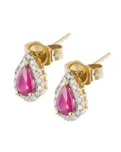 9ct White Gold Ruby and Diamond Pear Cluster Stud Earrings VE0S604 9KY-RUBY