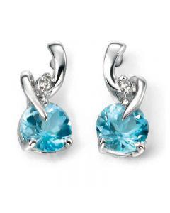 9ct White Gold Diamond and Blue Topaz Twist Studs GE994T