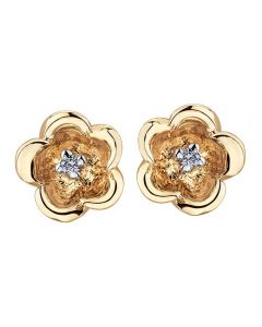 9ct Rose Gold 0.02ct Diamond Flower Stud Earrings E3164R-10