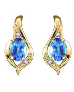 9ct Yellow Gold Blue Topaz and Diamond Swirl Stud Earrings E1860/12-10 BT