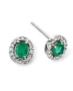 9ct White Gold Diamond Emerald Cluster Stud Earrings GE943G