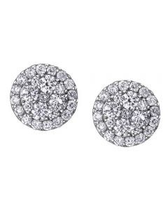 9ct White Gold 0.66ct Diamond Pavé Round Cluster Stud Earrings E3718W/66-9