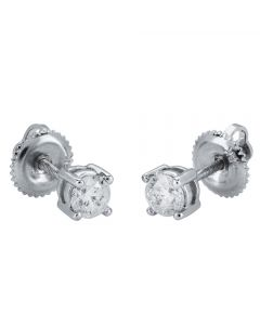 18ct White Gold Diamond 0.50ct Four Claw Diamond Stud Earrings 9150E050-18W