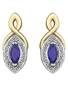 9ct Gold Marquise-cut Sapphire and Diamond Stud Earrings E3704-10 SAPH