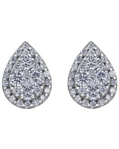 9ct White Gold 0.50ct Diamond Pavé Pear Cluster Stud Earrings E3778W/50-9