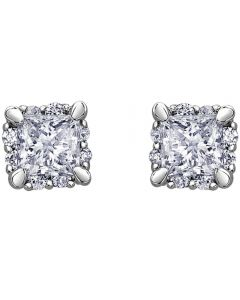 9ct White Gold 0.40ct Princess-cut Diamond Stud Earrings E3982W/40-9