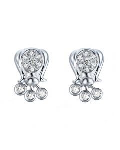 Fei Liu Lily of the Valley 9ct White Gold & Diamond Stud Earrings LOV-375W-204-WD00