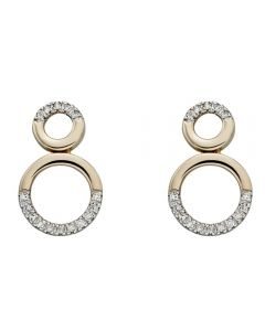9ct Gold Diamond Set Double Open Circle Stud Earrings GE2208