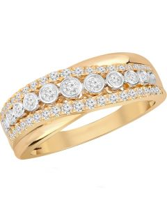9ct Yellow Gold 0.50ct Diamond Three Row Crossover Ring 9547R050 YG