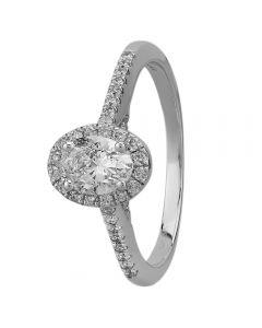 9ct White Gold 0.75ct Oval-cut Diamond Halo Ring SKR19672-75 M