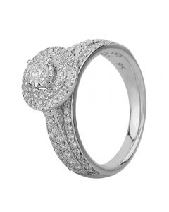 9ct White Gold 1.00ct Diamond Fancy Shouldered Round Cluster Ring SKR20738-100