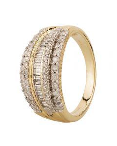 9ct Yellow Gold 1.00ct Multi-cut Diamond Five Row Ring SKR23578-100