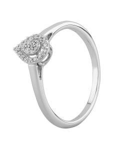 9ct White Gold 0.10ct Diamond Pavé Pear Cluster Ring SKR21148-10