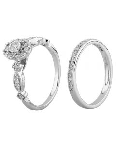 9ct White Gold 0.50ct Diamond Fancy Cluster Bridal Set SKR21339-50