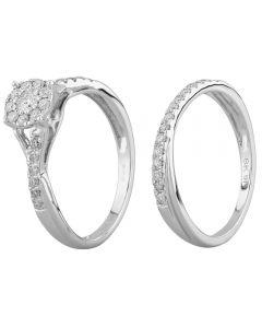 9ct White Gold 0.50ct Diamond Tapered Cluster Bridal Set SKR21958-50