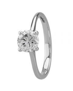 Platinum Round Four Claw Diamond Solitaire Ring RI-1048(1.00ct PLUS)-J/SI1/1.08ct