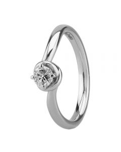 Platinum Four Claw Knot Twist Solitaire Diamond Ring RI-2015(0.25ct PLUS)-K/SI2/0.28ct