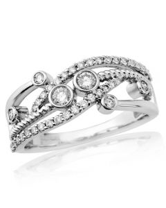 9ct White Gold Diamond Waves and Bubbles Ring DR1474W