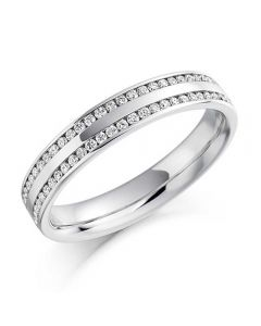 18ct White Gold 0.26ct Channel Set Round Brilliant Double Row Half Eternity Ring HET1136 18W