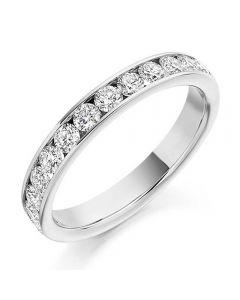 18ct White Gold 0.75ct Channel Set Round Brilliant Half Eternity Ring HET2108 18W