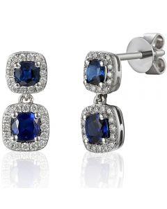 18ct White Gold Sapphire and Diamond Square Halo Dropper Earrings EAR43418/20-SA