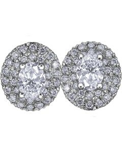 18ct White Gold 0.75ct Oval-cut Diamond Halo Cluster Stud Earrings E3781W/75-18